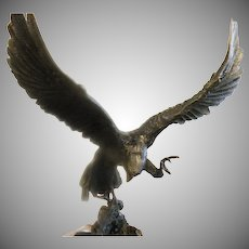 "Antique Bronze Cast Sculpture ""Falcon"" by French Artist J. Moigniez"