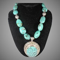 Vintage Sterling silver Navajo Large Blue/Green Turquoise Necklace & Pendant