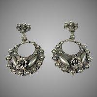 Vintage Silver Hand Made Italian Floral Heavy Dangle Drop Earrings