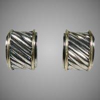 David Yurman Sterling Silver & 14K Yellow Gold Classic Retro Cable Earrings