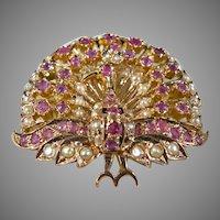 14 K Rose Gold Art Deco Ruby & Seed Pearl Brooch/Pendant 1920's