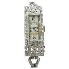 Platinum Art Deco Ladies Diamond Glycine Watch With Mesh Band
