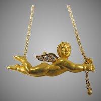 Carrera Y Carrera 18K Yellow Gold Angel With Diamonds  on 16/18 inch 18K Gold Chain