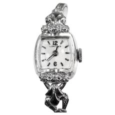 14K White Gold & Full Diamond Band Longenes  Vintage Watch Circa 1940's