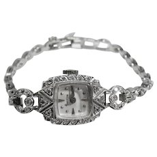 Estate Platinum & Diamond Vintage Geneve  Ladies Watch Circa 1940'2.