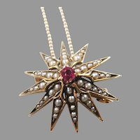 Antique Art Nouveau 14K Rose Gold Ruby & Natural Seed Pearl Pendant/ Brooch