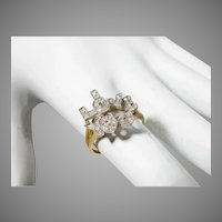 14 K White Gold Yellow Gold Diamond Custom I LOVE YOU Ring