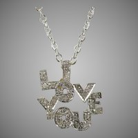 "14 K White gold Yellow Gold ""I LOVE YOU"" in Diamonds Custom Pendant"