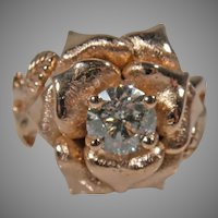 14K Rose gold Vintage Custom Diamond  Ring Flower Design