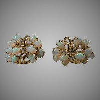 14 K Yellow Gold Natural Australian Opal Cluster Earrings  With Diamond Accents