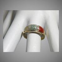 10 K Yellow Gold Vintage Ladies Jade & Coral Ring