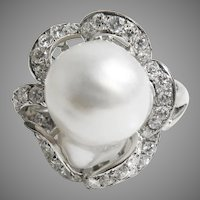14 K White Gold Estate Custom 12 mm South Sea Pearl & diamond Ring