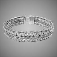 14 K White Gold Vintage Mesh & diamond Bracelet  Circa 1940's.