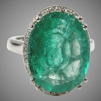14 K White Gold Vintage  Oval 10 Carat Oval Emerald & Pave' Diamond Ring