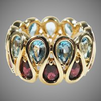 14K Yellow Gold  Vintage Eternity Band With Pear  Sky Blue Topaz & Rhodolite  Garnet Gemstones