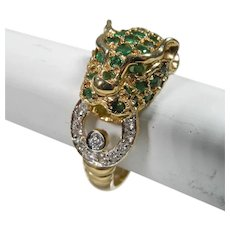 14K Yellow Gold Vintage Leopard ring With Emerald and Diamonds