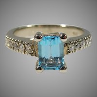 14K White Gold Swiss Blue Topaz & Diamond Ring Vintage