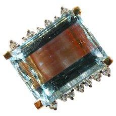 14 K Yellow Gold 12.00ct. Aquamarine and Diamond Ring Vintage