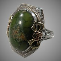 14K White Gold Art DEco Filigree Green Turquoise, copper vein Ring Circa 1920/30's.