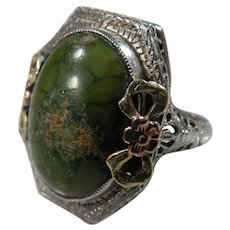 14K White Gold Art DEco Filigree Green Turquoise, copper vein Ring Circa 1920/30's.