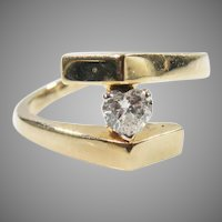 14k Yellow Gold Vintage Heart Diamond Ring