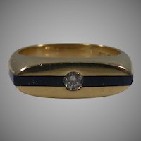 14 K Yellow Gold Lapis & Diamond Band Ring Circa: 1950'60's.