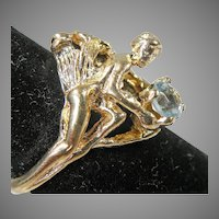 14K Yellow Gold Art Nouveau Ring Angel holding a Swiss Blue Topaz