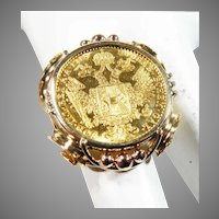 14 K Yellow Gold 22K Austrian Gold Coin Ring 1/10 of Ounce.