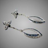 Custom Hand made Diamond and Blue Sapphire Dangle Drop Earrings with  (enhancers)