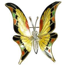 Antique 18K Yellow Gold & Diamond  Enamel Butterfly Brooch/Pendant