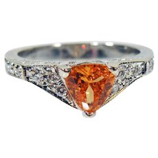 Estate 18K white Gold Trillion Natural  Spessartite Garnet & Diamond Ring
