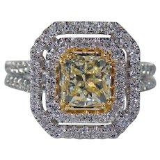 14K white Gold Estate Fancy Yellow Cushion Cut Halo Diamond 2.25cttw.