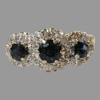 Antique 18 K White gold Yellow gold Victorian Sapphire & Diamond Ring Circa 1900's.