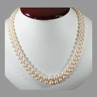 Double Strand of MikiMoto Akoya Pearls Graduated from 8.5 7.0 to 6.5.