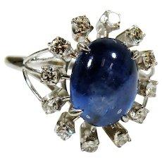 Estate Custom Platinum Diamond & Sapphire Halo Ring