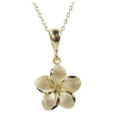 14K Yellow Gold Plumeria Hawaiian Flower Pendant