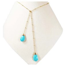 14K Yellow Gold Hand Made Turquoise Drop Necklace