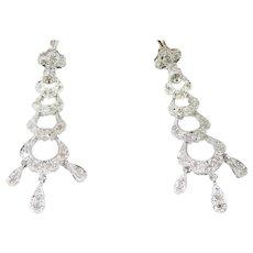14K White Gold Estate Diamond Chandelier Earrings