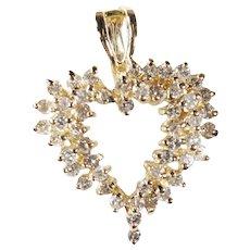 Vintage 14k Yellow Gold Diamond Heart Pendant Approx 0.75cttw.