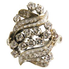 14K White & yellow Gold Vintage Cluster Diamond Ring Circa 1930's.