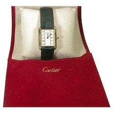 Vintage Muse De Cartier Ladies Tank Watch Vermeil
