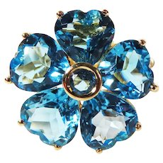Vintage 14k Yellow Gold Sky Blue Topaz Hearts and Flowers Ring