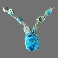 Vintage Sterling Silver and Stone Hand Carved Egyptian Scarab Necklace