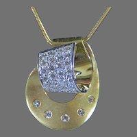 Estate Vintage 18K Yellow Gold Diamond Slide Pendant