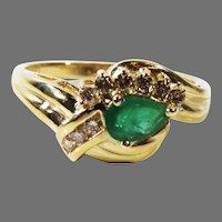 Estate Vintage 14K Yellow Gold Emerald & Diamond Cluster Ring