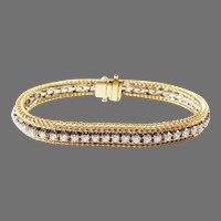 Estate 14K Two Tone Gold Diamond Tennis Bracelet 4.oocttw