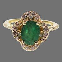 Estate 14K Yellow Gold natural Emerald & Diamond Halo Ring