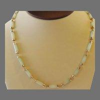 Estate Vintage 14K yellow Gold & Jade Link Necklace