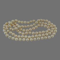Estate single strand 26 inch of Japanese Akoya cultured Pearl necklace