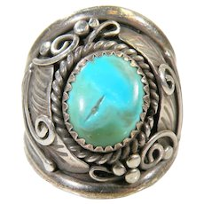 Navajo Sterling Silver Man's Turquoise Ring Signed L. Spencer Size 11